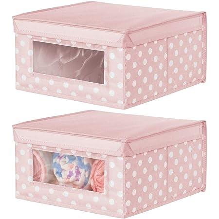 mDesign boîte de rangement en tissu moyenne (lot de 2) – panier de rangement empilable pour vêtements de bébé etc. – bac de rangement pointillé à couvercle et fenêtre – rose avec points blancs