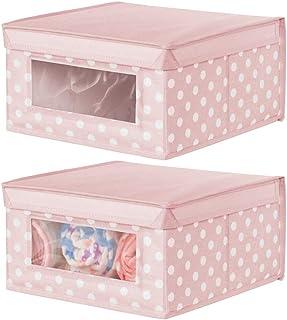 mDesign boîte de rangement en tissu moyenne (lot de 2) – panier de rangement empilable pour vêtements de bébé etc. – bac d...