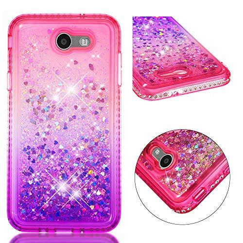 Capa com glitter XYX para Samsung J7 2017/J7 Prime /J7 Sky Pro/J7 V /J7 Perx, [série gradiente areia movediça] Capa protetora transparente com glitter brilhante brilhante – Rosa e roxo