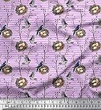 Soimoi Tela Morada De Satén Grueso Con Nido, Botón Floral Y Estampado De Pájaros De Robin Americano De Yard 54 Inch Wide