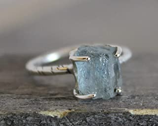 Raw Aquamarine Sterling Silver Ring size 9