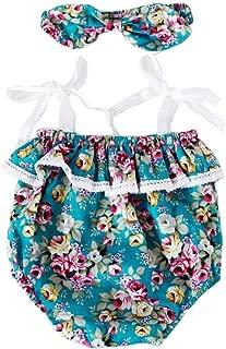 Gogolan Sling Halter Sleeveless Romper Little Floral Pattern Jumpsuit 6-12 Months Ligth Blue