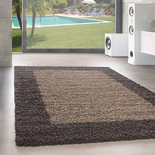 Unbekannt Shaggy Hochflor Langflor Bordüre Teppich Wohnzimmer Carpet Farben & Größen, Größe:60x110 cm, Farbe:Taupe