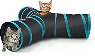 PAWABOO Cat Tunnel Tube, Premium S-Shaped / 3-Way / 4-Way / 5-Way Tunnels Extensible Collapsible Cat Play Tent Interactive Toy Maze Cat House Bed with Balls and Bells for Cat Puppy Kitten Rabbit