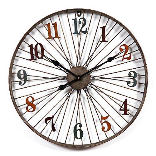 Reloj de pared grande XXL Likeluk, 23,5 pulgadas (60 cm), retro, silencioso, reloj de pared para salón, sin tic tac.