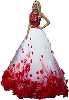 Hand Made Flowers 2 Pieces Quinceanera Dresses Prom Tulle Beaded Prom Sweet 16 Dresses 2020