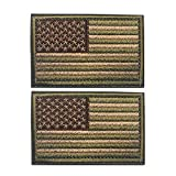2 Pieces American Flag Patch Bundle and USA Flag Patches, Multitan, Tactical Military Patches, American Flag Embroidered Patch