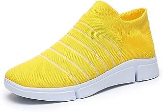 OUYAWEI Men Women Breathable Flying Woven Lightweight Running Travel Casual Shoes Slip On Sneaker Outdoors Sports
