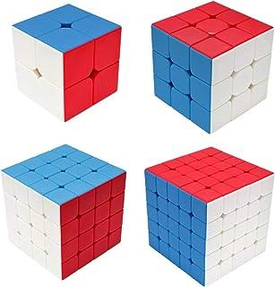 Maomaoyu Speed Cube Set 2x2+3x3x3+4x4x4+5x5x5 4 Pack Puzzle Twist Magic Cube sans Autocollant Cube de Vitesse Magique Cade...