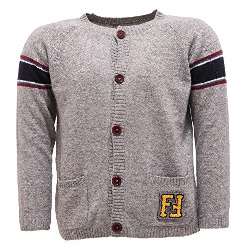 Fendi 0968S Maglione Bimbo Cardigan Grigio Lana Sweater Kid [24 Months]
