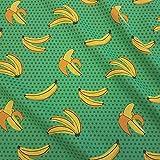 Stoff Meterware Baumwolle grün Bananen gelb Punkte Pop Art