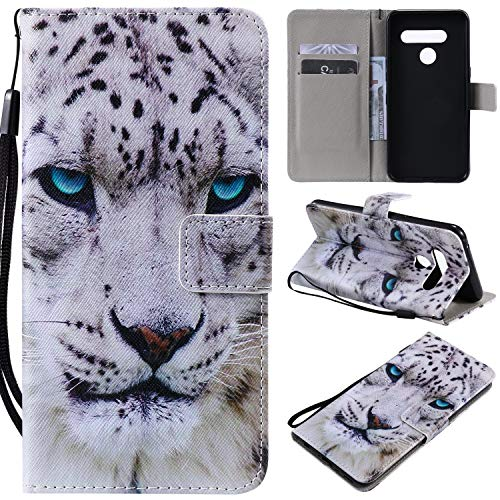 nancencen Kompatibel mit Handyhülle LG V50 Hülle, Painted Tier PU Leder Tasche Schutzhülle Hülle [Weiß Leopard]