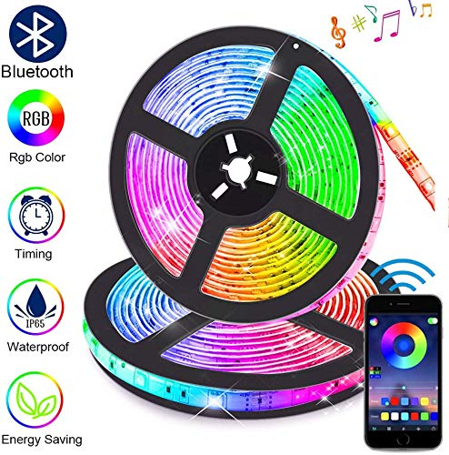 Striscia LED RGB Musicale 10M, Autoadesiva Striscia Luminosa 12V LED Strip RGB Impermeabile/Flessibile/Accorciabile/Divisibile/Collegabile Led Illuminazione Strisce Decorative per Interni/Esterni