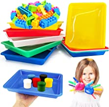10 Pcs Activity Plastic Tray,Multiuse Arts and Craft Organizer Trays,Activity Tray Crafts Organizer Tray Serving Tray for Crafts,Beads,Painting(Set of 5 Colors-Green,Blue,Red,Yellow,White)