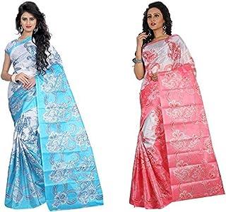 Svb Sarees art silk with blouse piece Saree (Pack of 2) (tfta_combo01_ Multicolor_ 5.5 Meters)