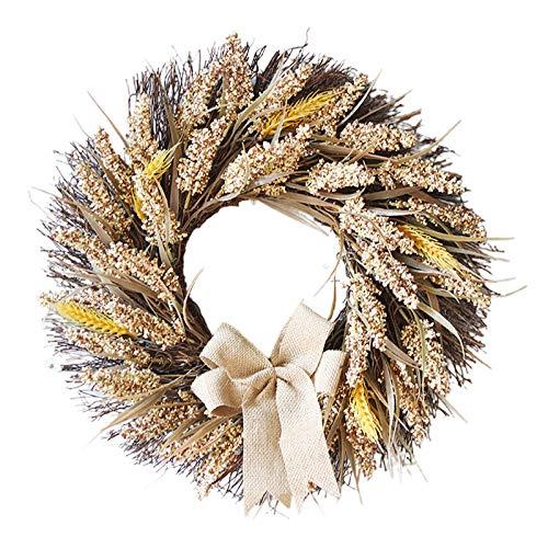 LOVIVER Guirnalda de trigo grande guirnalda de otoño Casa de Campo puerta guirnalda para celebrar la cosecha grano colgante pared DIY Festival Fiesta