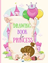 Drawing Book for Princess: Cute Pink Fairytale Castle Background, Large Sketchbook For Girls, 120 Pages With Little Crown ...