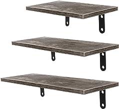 MU 3-częściowa drewniana pływająca półka, antyczna półka ścienna z 6 haczykami, salon sypialnia, kuchnia półka do przechow...