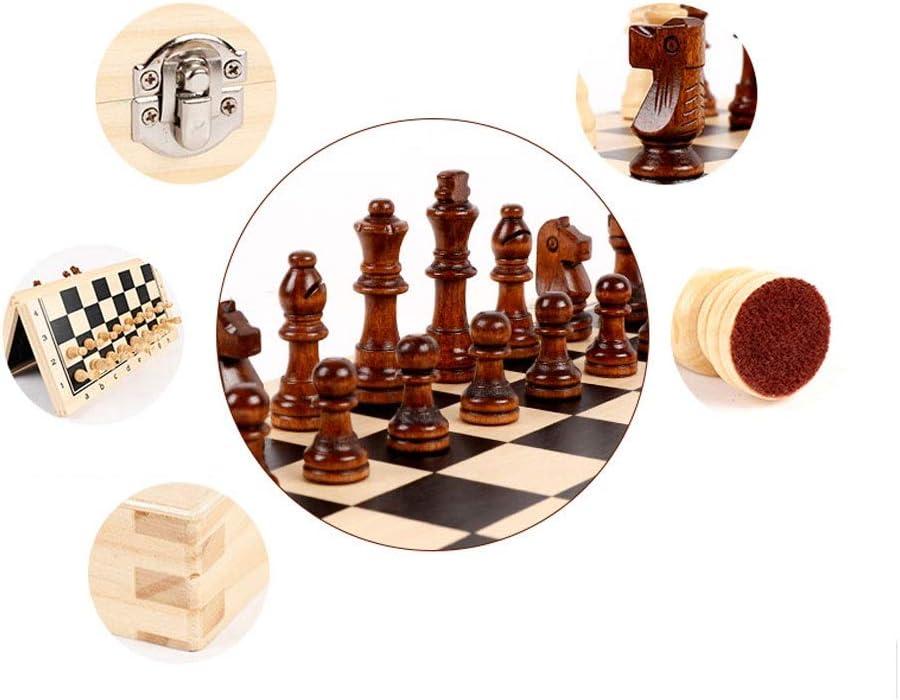 Schaakspel Houten magnetische opvouwbare schaakset, schaakbordspel met draagbare interieuropslag Perfecte kinderen beginners en volwassenen Schaken (Color : 39CM) 39CM