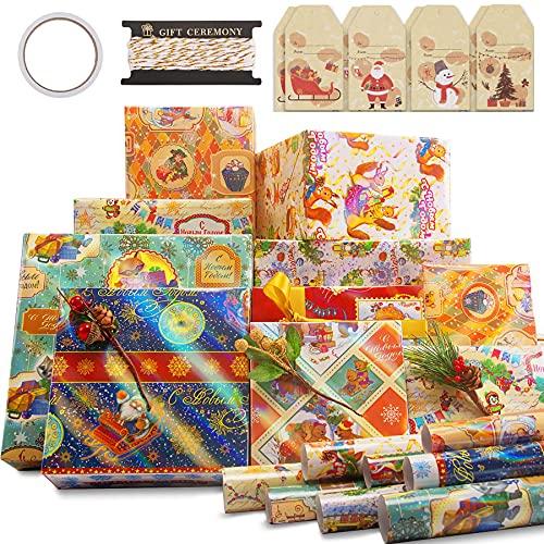 Larcenciel Set di Carta da Regalo, 8 Fogli di Carta da Regalo in Alluminio Natalizio + Etichetta + Corda da Imballaggio, Simpatico Cartone Animato Animale Carta di Natale per Party, 70 x 50 cm