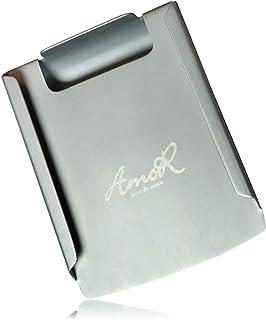 AmoR マネークリップ メンズ 純チタン製 薄型 財布 カード5枚 お札約30枚収納可能