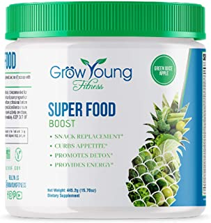 Grow Young Fitness Green Juice Powder - Super Food Weight Loss Boost - Snack Replacement - 30 Day Supply - 25 + Real Organic Detoxifying Super Foods - Delicious Apple Flavor