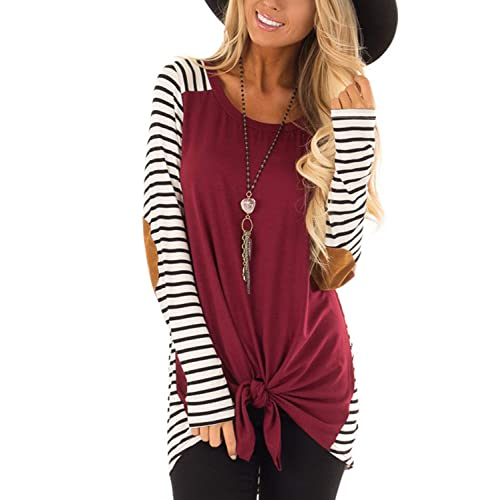 6fe7bd4b0f35 Blooming Jelly Womens Black and White Striped T Shirts Long Sleeve Elbow  Patch Crew Neck Casual