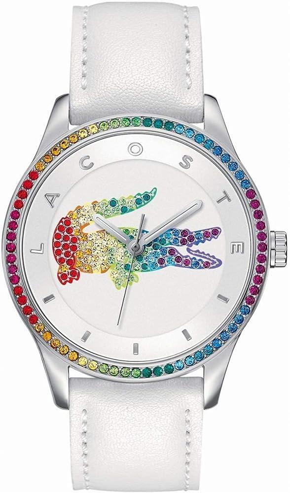 Lacoste, orologio per donna con cinturino in pelle e cassa in acciaio con quadrante e lunetta in swarosky 2000822