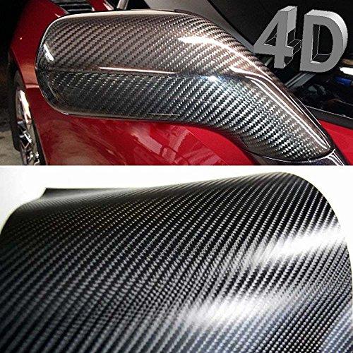 Romel - 24 [19,71€/m²] Folie Selbstklebend Luftkanäle Carbon Folie Schwarz 4D + DEUTSCHE Anleitung (30cm x 150cm)