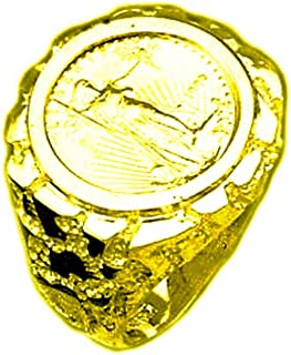 TEX 14K Gold Men's 22 Mm Nugget Coin Ring with A 22 K 1/10 Oz American Eagle Coin(1020