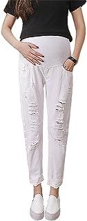 795de3aaf6f19 Hibukk Women White Distressed Pull On Full Panel Maternity TAPERING Jeans