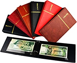 Stamp Album Banknote Postcard Stockbook Collection Combo Hardcover PU Leather 2 Ring Binder with 10pcs clear sheets