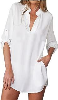 Damen V-Ausschnitt Chiffon Langarm Slim Oversize T-Shirt Bluse Lose Tops