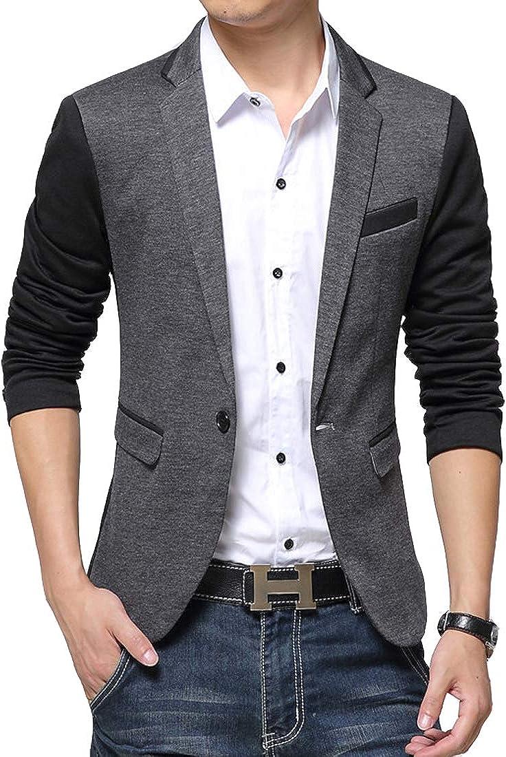 Men's Sport Coat Blazer One Button Slim Fit Notch Lapel Casual Vent Wool Blend Jacket