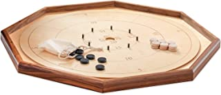 "Crokinole Game Board Legacy Edition by Taran Games – 30"" Tournament Size with 26"" Playing Surface – Point Numbers Included for Easy Scoring - Natural Hardwood Discs and Drawstring Bag for Kids"