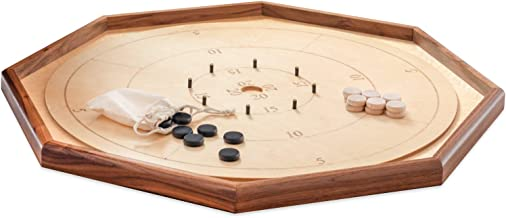 """Crokinole Game Board Legacy Edition by Taran Games – 30"""" Tournament Size with 26"""" Playing Surface – Point Numbers Included for Easy Scoring - Natural Hardwood Discs and Drawstring Bag for Kids"""