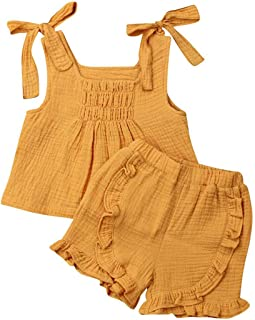 Toddler Baby Girl Cotton Linen Outfits Clothes Ruffle Spaghetti Straps Tops&Elastic Waist Shorts 2 Pieces Sets