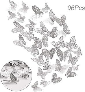 96pz Adhesivos Mariposas 3D Decorativos para Pared, Creatiees Pegatinas de Pared Mariposas Decoraciones, Rxtraíble Mural Pegatinas de Calcomanías Hogar Casa Habitación para Casa Habitación(Plata)