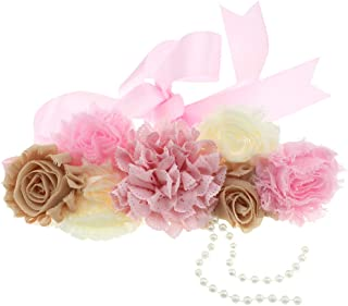 Maternity Pregnancy Flower Sash Wedding Bridal Belt Rhinestone Feather Sash Baby Shower