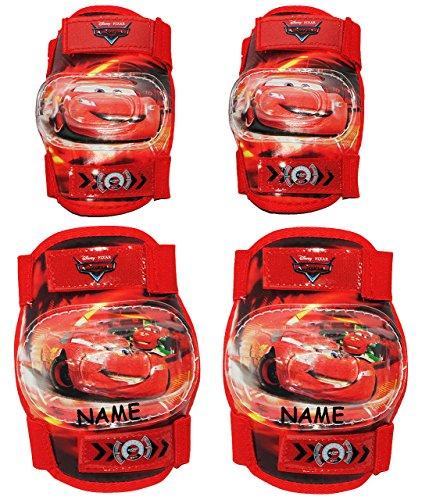 alles-meine.de GmbH 4 TLG. Set: Knieschützer + Ellenbogenschützer - Disney Auto - Cars / Lightning McQueen - inkl. Name - für Circa 5 bis 12 Jahre - für Kinder - Gelenkschützer K..