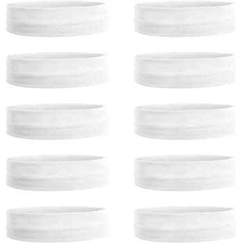 Teemico 10 Pack Cotton Yoga Headbands by Teemico - Cotton Stretch Headbands Elastic Yoga Hairband for Teens Girls Women Exercise Running Sports Hair Wrap Accessories,White