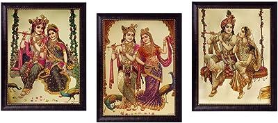 SAF Radha Krishna Golden Foil Frame Painting Set (Synthetic, 35 cm x 50 cm x 2 cm, Set of 3) (SOAD17)
