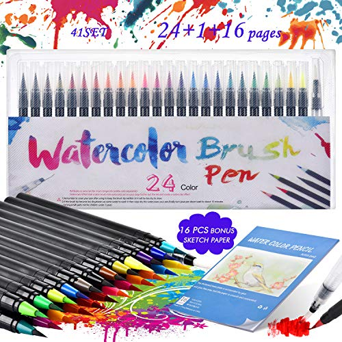 Rotuladores PincelAcuarelables, KEEHOM Set Rotuladores Lettering 24 Colores de Nylon Flexible y 1Pluma de Pincel de Agua, con Un Bloc de Dibujo de 20*14.5cm, Set Ideal para Pintura Caligrafía Cómics
