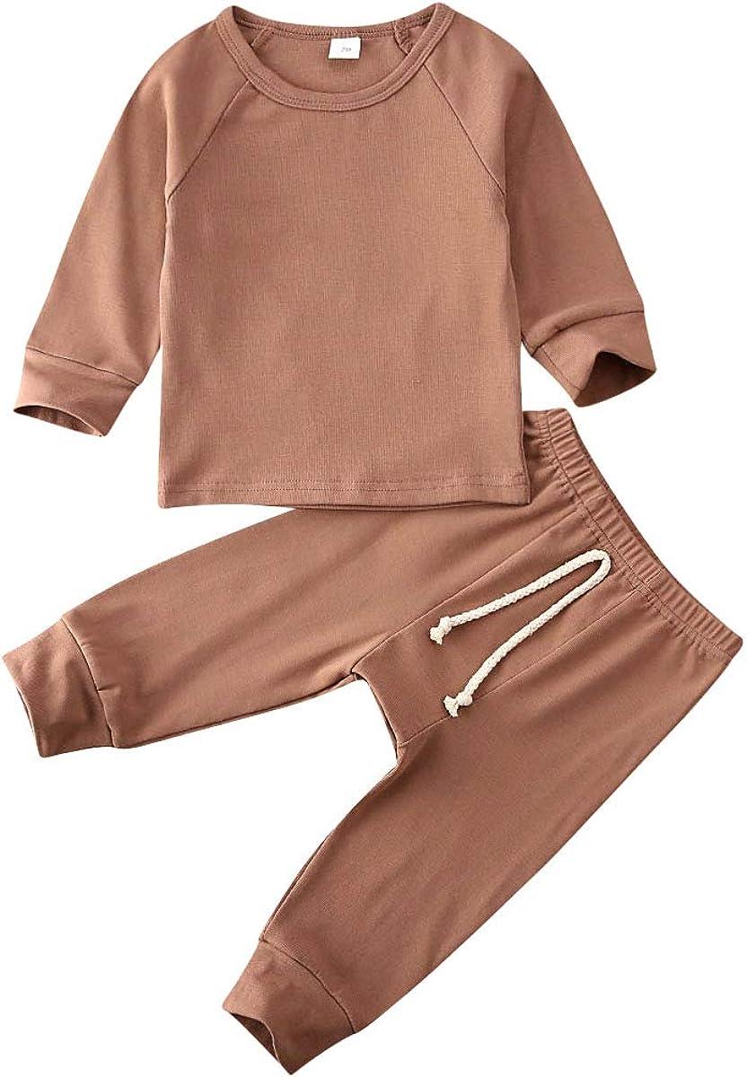 Liyamiee Baby Girls Boys' 2 Pieces Pants Set, Tee and Pant 2-Piece Pajamas Set, 100% Organic Cotton