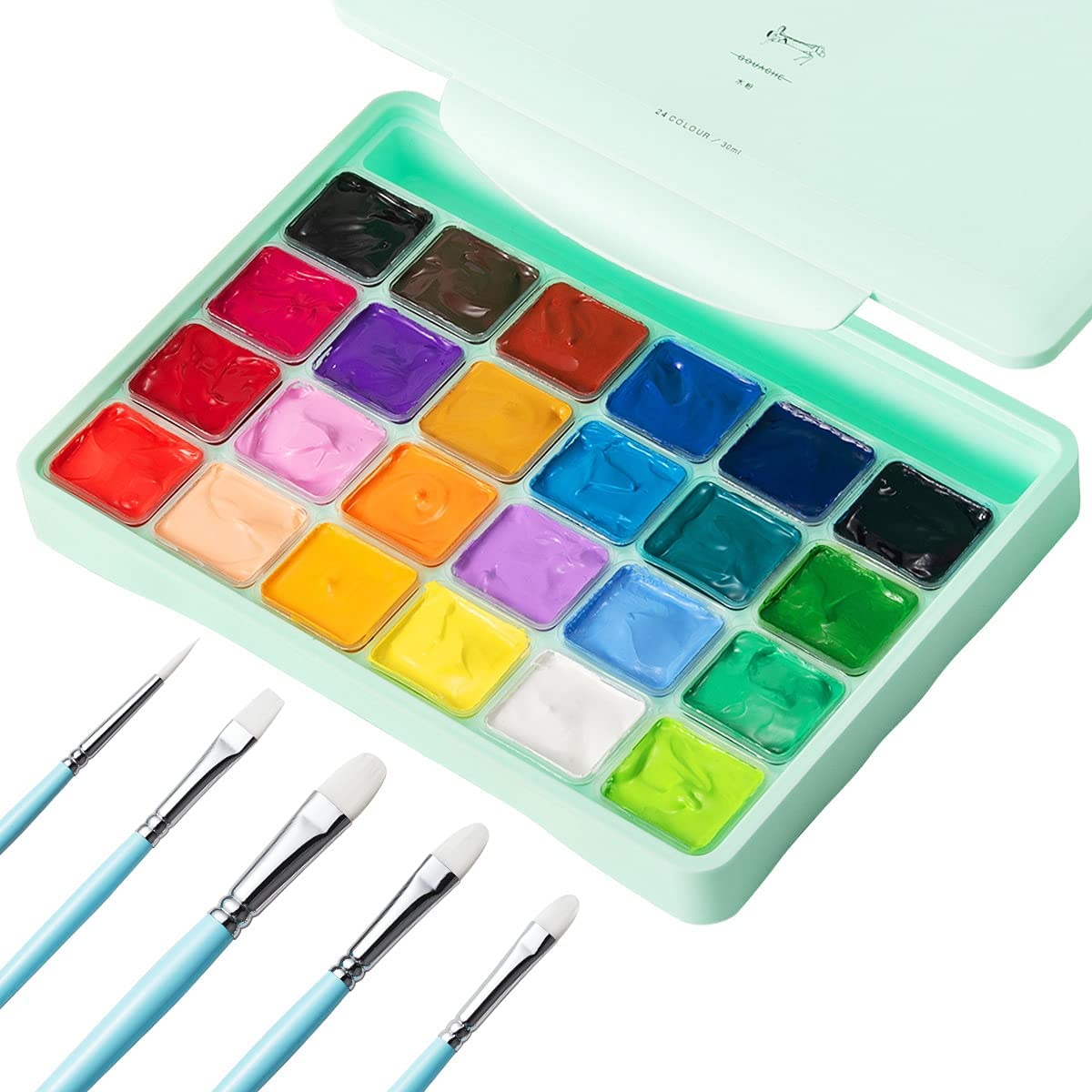 HIMI Juego de Pintura Gouache,24 Colores Jelly Cup Paint Set con 10 Pinceles Jelly Cup en Estuche de Transporte con Paleta Portátil, 24 Colores Vibrantes Para Artistas, Estudiantes (verde)