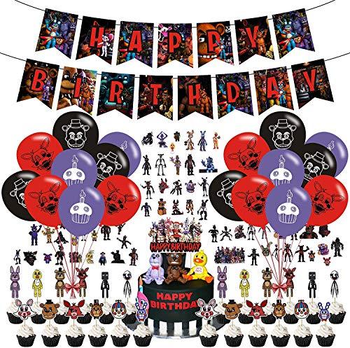 LLMZ 50pcs Fünf Nächte bei Toy Bear Freddy Happy Birthday Supplies,1pcs Banner+24pcs Latex Ballons+25pcs Cake Topper ,Geburtstagsfeier Dekorationen für Five Nights at Freddy's