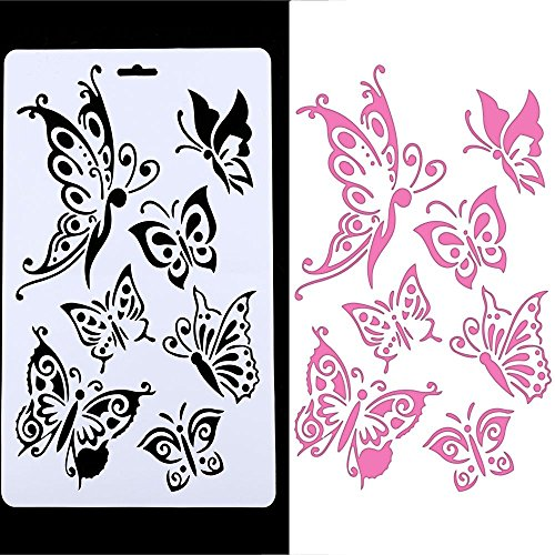 Genenic Butterfly Painting Stencil Template, Hollow Embossing Stencil,Plastic Reusable Stencil DIY Scrapbook Paper Crafts Cards