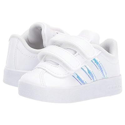 adidas Kids VL Court 2 CMF (Infant/Toddler) (Footwear White/Footwear White/Clear Orange) Kids Shoes