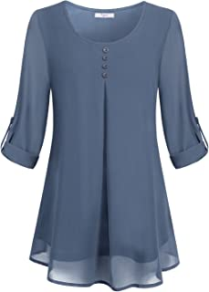 Women's Roll-up Long Sleeve Round Neck Layered Chiffon Flowy Blouse Top