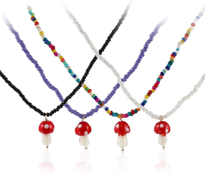 4 Pcs Colorful Beads Mushroom Shape Dangle Pendant Necklace Dainty Chain Mushroom Choker Jewelry Set Handmade Plastic Simulation Mushroom Beaded Necklace for Women Girls Teens